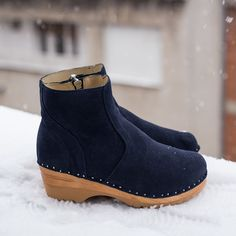 43e872f3c99cae Clog Boot in Navy Blue suede leather - Troentorp Clogs