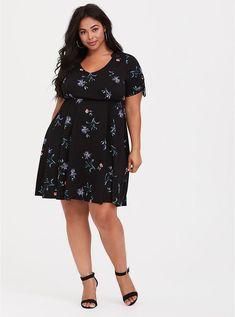 edee63df0d Size 0 Tie-Sleeve Challis Skater Dress