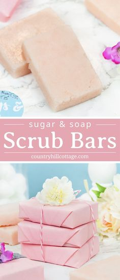 DIY sugar soap scrub bars are made with sugar, soap, a vegetable butter, and essential oils. Use this lovely homemade scrub bar on the entire body, and get a three-in-one spa treatment: the sugar gently exfoliates, while the soap cleanses and the butter moisturises leaving you with glowing and refreshed skin. The peeling bars are made with natural, non-toxic ingredients that replenish and nurture dry, dull skin. #sugarscrub #peeling #essentialoils #skincare #nontoxic | countryhillcottage.com Diy Savon, Savon Soap, Lye Soap, Sugar Soap, Sugar Scrub Diy, Sugar Scrubs, Homemade Scrub, Homemade Soap Recipes, Homemade Soap Bars