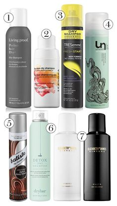 You're looking at our favorite dry shampoos of all time - click for specific tips on how to use them to get rid of oily, limp hair.