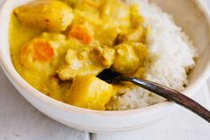 Thai Yellow Curry with Chicken is the ultimate comfort food. Yukon potatoes, onions, sliced carrots, and bite-sized pieces of chicken make each bite heaven.
