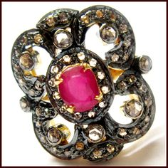 1.95 CT ROSE CUT DIAMOND RUBY VICTORIAN VINTAGE COCKTAIL RING  #Vintagering #Antiquering #Rubyring #Rosecutring #Viactorianring #diamondring  Indian Handmade Antique Vintage Cocktail Ring . Vintage ring Has a Historical Value .