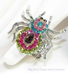 Pastel Rhinestone Spider Ring  Vintage Jewelry Treasures