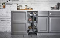 Help use your kitchen's awkward spaces, with the help of a trolley in-between cabinets.