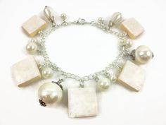Snow White Shimmer Scrabble Tile Charm and Beaded Bracelet.  $23.00  Find this and more at www.wiredboutique.etsy.com