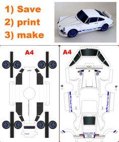 Paper Model Car, Paper Car, Paper Models, Paper Robot, Paper Toys, Paper Crafts Origami, Diy Paper, Porsche 911 Gt, Imprimibles Toy Story Gratis
