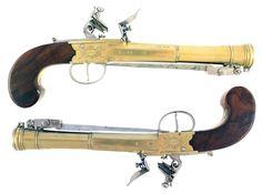 An Outstanding Pair of Flintlock Blunderbuss Pistols by Nicholson of London - http://www.snaphaunce.com/catalogue/a-superb-pair-of-blunderbuss-pistols/