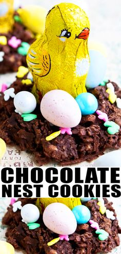 Learn how to make chocolate nest for Easter. Fill them with candy eggs and chocolate birds for kids. Requires simple ingredients and just 20 minutes. Chow Mein, Easy No Bake Desserts, Fun Desserts, Dessert Recipes, Pavlova, Chocolate Recipes, Coconut Chocolate, Chocolate Cookies, Chocolate Easter Nests
