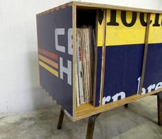 love it! a table made from an old sign.