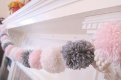 POM POM GARLAND- pink, white & grey pom poms - super cute yarn pom poms - sweet nursery decor or wedding or birthday party decor