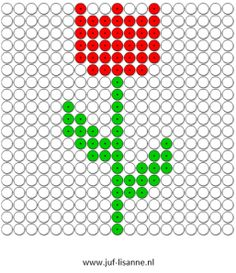 www.juf-lisanne.nl Kralenplank tulp. Tiny Cross Stitch, Beaded Cross Stitch, Cross Stitch Designs, Cross Stitch Patterns, Pearler Bead Patterns, Perler Patterns, Beaded Flowers Patterns, Beading Patterns, Spring Activities