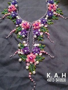 New embroidery dress diy haute couture Ideas Kurti Embroidery Design, Hand Embroidery Dress, Embroidery Neck Designs, Hand Embroidery Videos, Bead Embroidery Patterns, Tambour Embroidery, Embroidery On Clothes, Couture Embroidery, Creative Embroidery