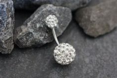 Ferido Belly Button Ring Stud in Clear Crystals at MyBodiArt