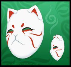 Japanese Fox Mask, Japanese Cat, Mascara Anbu, Anbu Mask, Drawn Mask, Oni Demon, Kitsune Mask, Wolf Mask, Mask Painting