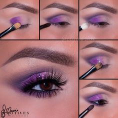 """""""We're passionate for purple, and loving this look from Here's how to get her look using Motives Cosmetics: Begin by applying """"Ivory"""" on…"""" Purple Wedding Makeup, Purple Eye Makeup, Colorful Eye Makeup, Purple Eyeshadow, Eye Makeup Tips, Smokey Eye Makeup, Makeup Stuff, Makeup Tricks, Diy Makeup"""