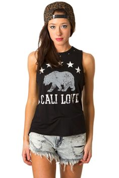 Cali Love Tank #beach #black #cali #graphic-tee #hipster #large #love #medium #small #tank