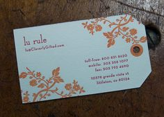 Letterpress Business Card: Cleverly Gifted (back)