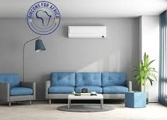 Blue and gray modern lounge by archideaphoto. Blue and gray modern living room with sofa,armchair and air conditioner ¨C rendering Air Conditioning Units, Leroy Merlin, 3 D, House Design, Living Room, Elegant, Furniture, Home Decor, Summer Heat