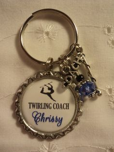 Personalized Baton Coach key chain with charms by chaleybrooke