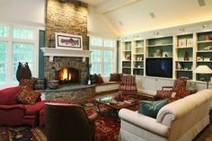 tv fireplace different walls | Fireplace And Tv On Different Wall Design Ideas, Pictures, Remodel ...