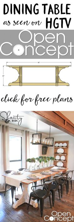 Free plans to build this Dining Table as seen on HGTV's Open Concept! Build your own for about $100 in lumber with the easy-to-follow plans!