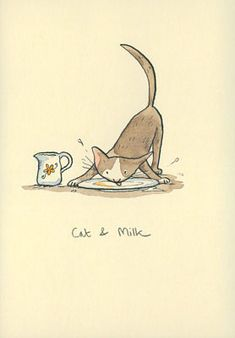 Cat and Milk Anita Jeram, Sweet Drawings, Art Challenge, Easy Paintings, Religious Art, Cute Illustration, Crazy Cats, Cat Art, Animal Drawings