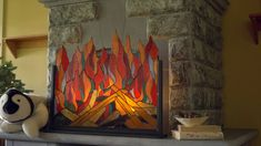 Stained Glass Roaring Fire Screen SKU# LT7598 - Wind & Weather