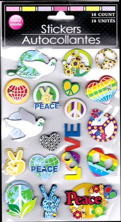 Peace Sign 3-D Bejeweled 18 Stickers Dove V Hearts Flowers Love Rainbow 1960s #GreenbrierInternational #3DDimensional