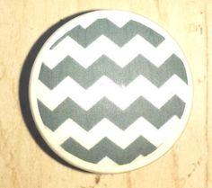 Gray and White Chevron Dresser Pull Drawer by WallpaperYourWorld