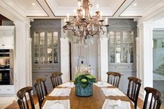 Wondrous Curio Cabinets Design In Traditional Dining Room With Several Dark Brown Chairs And Brown Pendant Lamp Hanged In The Ceiling ✿ ☺ ☻ ☻