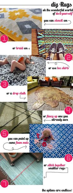 I love the rugs but i mostly love the captins on this pin. Couple of cheap easy ways to make your own rugs. Home Goods Decor, Diy Home Decor, Diy Projects To Try, Craft Projects, Craft Ideas, Home Crafts, Diy And Crafts, Do It Yourself Inspiration, Crafty Craft