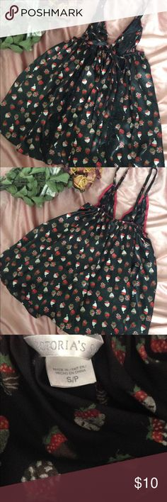 Victoria's Secret Strawberries n Cream Babydoll S Excellent condition. Super cute Black babydoll with red trim on bra and strawberries and cream print. Adjustable straps. No stains, no rips or tears. From smoke free home. Victoria's Secret Intimates & Sleepwear