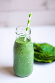Green smoothie with spinach - stock photo