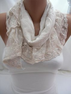 Cream Shawl/Scarf  with Lace by DIDUCI on Etsy, $21.00