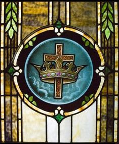 A detail of a restored stained glass window for St. Mary Parish Church, Amarillo, TX