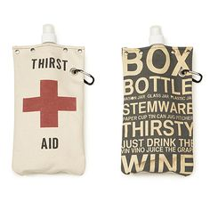 These witty totes can keep a whole bottle of wine under wraps! The canvas body of the water, juice, or booze-bearing bags is sewn by hand and on a machine by a USA-based collective of artisans. Liquor List, Wine Tote, Wine Bags, Bottle Packaging, Camping Gifts, Jaba, Cool Gifts, Fathers Day Gifts, Packaging Design