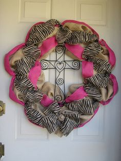 Burlap wreath with pink and zebra burlap ribbon by FauxBlossoms, $75.00