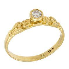 Art Nouveau 0.10 Ct Floral Diamond Engagement Ring 18k Yellow Gold. $440.00, via Etsy.