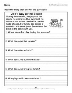 First Grade Reading Comprehension Passages - Set 1 | First grade ...