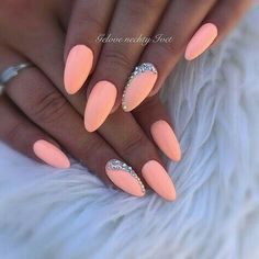 Try some of these designs and give your nails a quick makeover, gallery of unique nail art designs for any season. The best images and creative ideas for your nails. Cute Acrylic Nails, Cute Nails, Pretty Nails, Peach Nails, Pink Nails, Peach Nail Art, Color For Nails, Nail Colors, Nagellack Trends