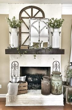 85 Rustic Farmhouse Fireplace Makeover Ideas – The Best Ideas Rustic Fireplaces, Farmhouse Fireplace, Farmhouse Decor, Modern Farmhouse, Rustic Fireplace Decor, Farmhouse Shutters, Modern Rustic, Mantles Decor, Country Fireplace