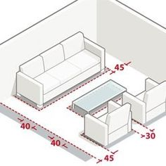 Measures and dimensions to arrange a living room - Mesures et dimensions pour aménager un salon Measures and dimensions: the living room Sofa Set Designs, Living Room Designs, Living Room Decor, Interior Architecture Drawing, Muebles Living, Hall Furniture, Mawa Design, Transitional Living Rooms, Luxury Sofa
