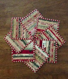 Quilts In The Barn: Its beginning to look like Christmas!  Coasters made with fabric scraps and selvedges.