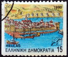 """Chios town, Chios island . From the """"Prefecture Capitals"""" issue (2nd series). Stamp printed in Greece ,circa 1990."""