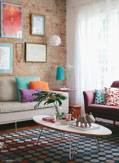 Retro colorful living room
