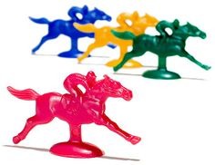 Derby Game - you can freeze horses like this onto ice cubes and then have ice horse races down a big ramp/board. I number the horses witha Sharpie and the kids pick their horse ahead of time. Kids love it. Hold the horses back with a broom stick and then let them go!