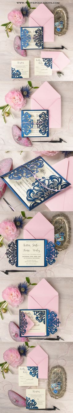 Let our designers create dream wedding invitations especially for you ! Navy Blue Wedding Theme, Wedding Themes, Wedding Colors, Laser Cut Wedding Invitations, Wedding Stationary, Summer Wedding, Dream Wedding, Cute Stationery, Glamorous Wedding