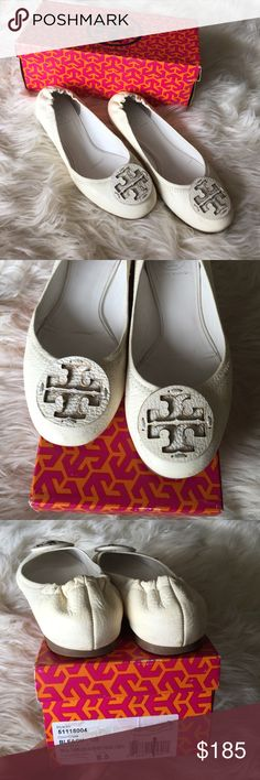 Tory burch flat Reva-tumbled/ leather/tonal logo/ bleach color/ well used but still long life ahead! Tory Burch Shoes Flats & Loafers