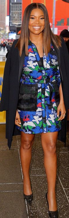 Gabrielle Union in Dress Hugo Boss Watch Official Invicta Shoes Stel Hugo Boss Watches, Weave Styles, Gabrielle Union, Female Stars, Classy Chic, Colourful Outfits, Black Pumps, Style Me, Hairstyle
