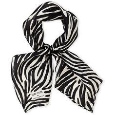 Longchamp Zebra Stripe Silk Scarf ($50) ❤ liked on Polyvore featuring accessories, scarves, black, zebra scarves, longchamp, pure silk scarves, silk scarves and zebra print scarves